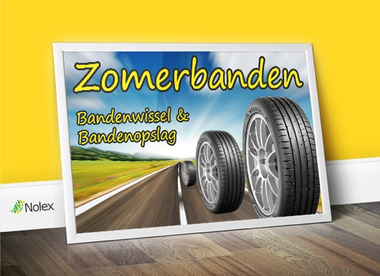 Spandoek zomerbanden reclame voor Schopman Autoservice.