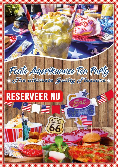 Flyer, Foute Amerikaanse Tea Party, Lunchroom Bij Saartje