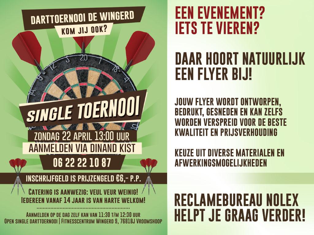 Flyer, Darttoernooi, Reclamebureau Nolex