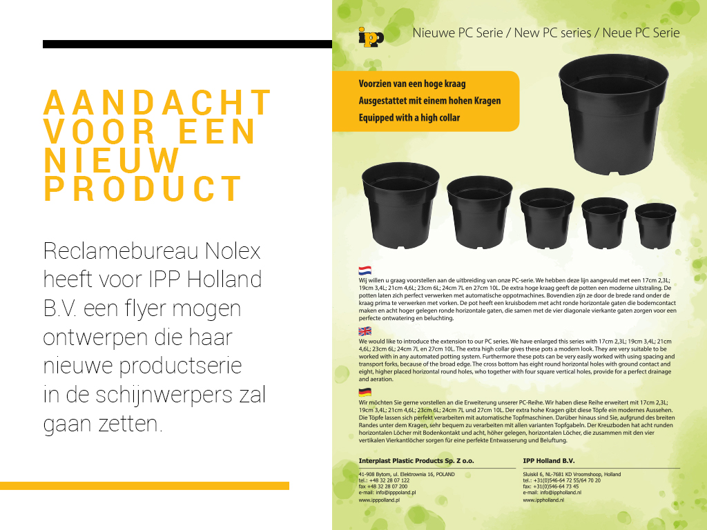 flyer, productinformatie, Reclamebureau Nolex