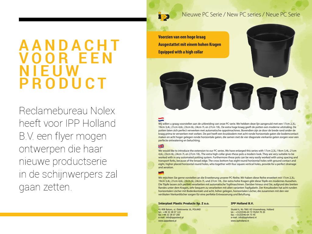 flyer, productinformatie, Reclamebureau Nolex