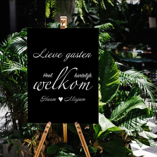 Welkomstbord bruiloft met stickers