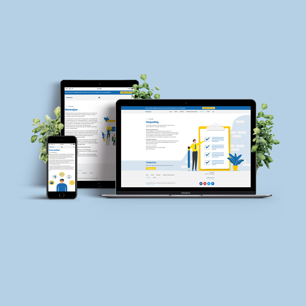 TenderCare website ontwikkeld door Designbureau Nolex Twente